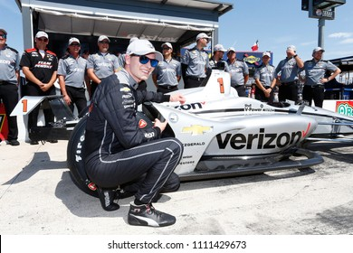 June 08, 2018 - Fort Worth, Texas, USA: JOSEF NEWGARDEN (1) of the United States wins the pole award for the DXC Technology 600 at Texas Motor Speedway in Fort Worth, Texas.