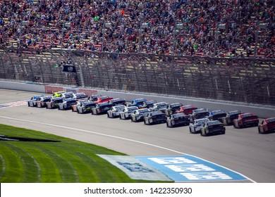 June 08, 2019 - Brooklyn, Michigan, USA: John Hunter Nemechek (23)and Paul Menard (12) battles for position for the LTi Printing 250 at Michigan International Speedway in Brooklyn, Michigan.