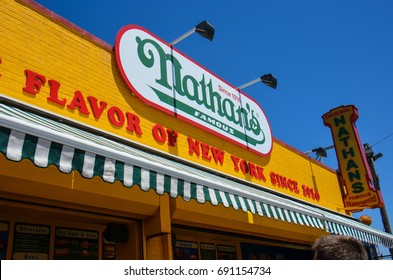 JUNE 1 2017 - BROOKLYN, NEW YORK: Close up of the Nathan's Hot Dog sign in Coney Island boardwalk, New York.