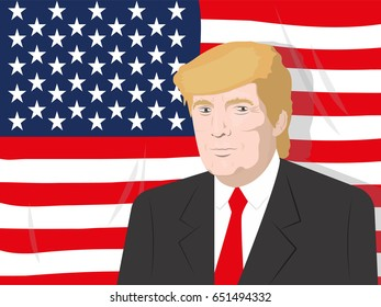 June 1, 2017: illustration of a portrait of the President of the USA Donald Trump on the USA flag background.
