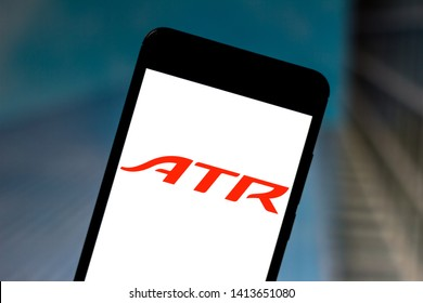 June 1, 2019, Brazil. In this photo illustration the Avions de Transport Régional (ATR) logo is displayed on a smartphone.