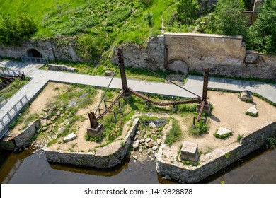 June 1, 2019 - Minneapolis, MN: Overhead, aerial view of Mill Ruins Park in downtown Minneapolis Minnesota. Ruins of the flour milling industry in the city