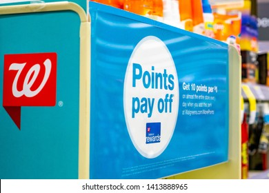 June 1, 2019 Sunnyvale / CA / USA - Walgreens balance rewards card ad and logo inside one of the stores