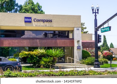 June 1, 2019 Sunnyvale / CA / USA - BBVA Compass Bancshares, Inc. (a bank holding company) branch close to downtown Sunnyvale, South San Francisco bay area