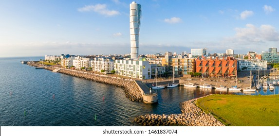 June 10, 2016. Malmo, Sweden. Beautiful aerial view of the Vastra Hamnen (The Western Harbour) district in Malmo, Sweden, during sunset. View from above.