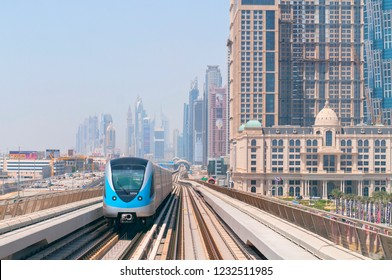 June 10, 2016. Metro railway and fully automated train in modern and luxury Dubai city, United Arab Emirates.
