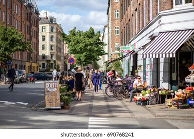 June 10, 2017 - Copenhagen, Denmark: People on Stefansgade in Norrebro district enjoying a summer day