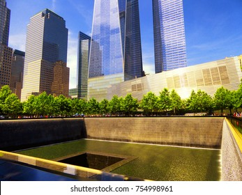 June 10, 2017. New York, United States.The North Pool of the National September 11 Memorial adjacent to One World Trade Center in Lower Manhattan, New York City United States.