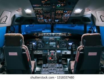 June 10th, 2016. Kuala Lumpur, Malaysia. Boeing 737 simulator flight deck at a mall in Kuala Lumpur.