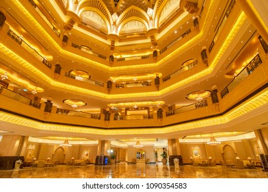 June 11, 2016. Hall decoration in Emirates Palace hotel a luxurious and the most expensive 7 star hotel in Abu Dhabi, the capital city of United Arab Emirates.