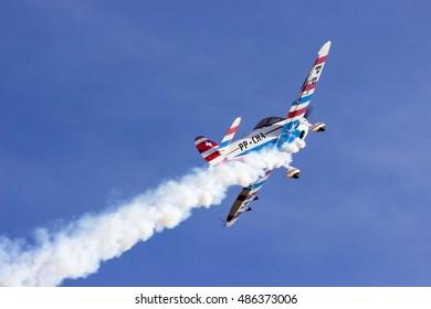 June 11, 2016, Para de Minas, Brazil: An aircraft flying during the air show Aerorock 2016
