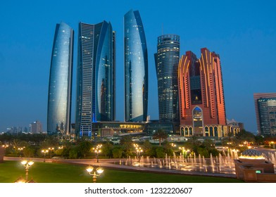 June 11, 2016. Skyscrapers of Abu Dhabi at night with Etihad Towers buildings. Abu Dhabi is the capital and the second most populous city of the United Arab Emirates.