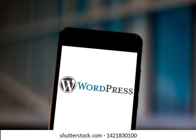 June 11, 2019, Brazil. In this photo illustration the WordPress logo is displayed on a smartphone.