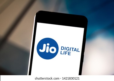 June 11, 2019, Brazil. In this photo illustration the Reliance Jio Infocomm Limited logo is displayed on a smartphone.