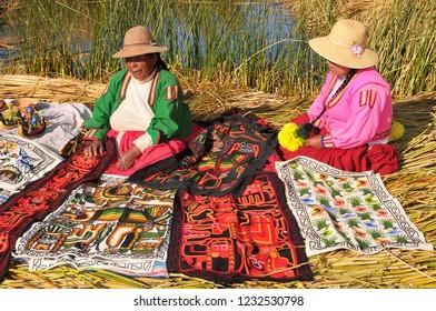 June 12, 2010. Peru, South America, Titicaca Lake, Uros Indian, Uros Ayamaras, Floating Island.