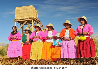 June 12, 2010. Uros Indian on floating Island Titicaca Lake, Peru, South America.