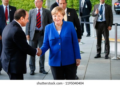 JUNE 12, 2017 - BERLIN: Abd al Fattah as Sisi (President of Egypt), German Chancellor Angela Merkel before a meeting with African leaders in the Federal Chanclery in Berlin.