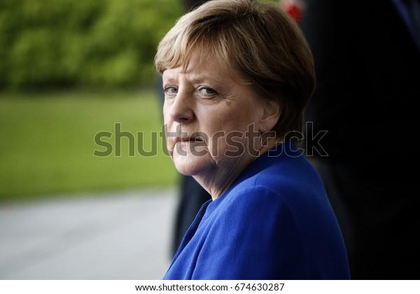 JUNE 12, 2017 - BERLIN: German Chancellor Angela Merkel before a meeting with African leaders in the Federal Chanclery in Berlin.