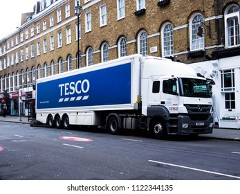 June 12, 2018 - London, England. Tesco lorry making deliveries at a Tesco supermarket.