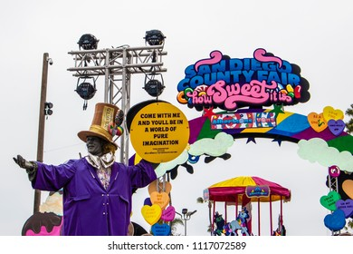 June 12, 2018, SAN DIEGO, CALIFORNIA, USA, Statue of Willy Wonka Welcomes Guest to the San Diego County Fair at the O'Brien Entrance Gate