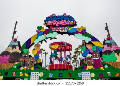 """June 12, 2018, SAN DIEGO, CALIFORNIA, USA, Colorful Candy and Sweet Artwork Welcomes Guests at the """"How Sweet Is Is"""" Themed San Diego County Fair"""