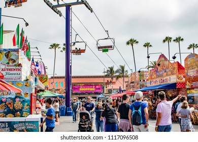 June 12, 2018, SAN DIEGO, CALIFORNIA, USA, The Sky Ride Carries Attendees over the Bing Crosby Shopping Hall and Dozens of Food Stalls at the San Diego County Fair