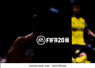 June 12, 2019, Brazil. In this photo illustration the FIFA 20 logo is displayed on a smartphone.