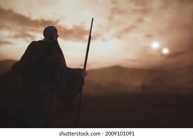 JUNE 12 2021: Star Wars Obi-Wan Ben Kenobi watching over Luke Skywalker on Tatooine - Hasbro action figure