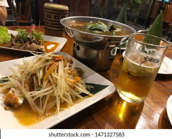 June 1,2019 : Northeast food or Isaan food, Thai cuisine street food and travel concept in restaurant  ,Bangkok Thailand