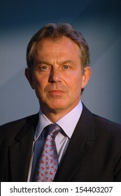 JUNE 13, 2005 - BERLIN: British Prime Minister Tony Blair at a press conference after a meeting with the German Chancellor in the Chanclery in Berlin.