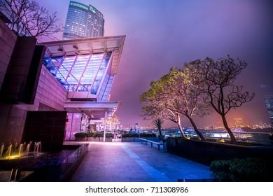 June 13, 2016 - Central, Hong Kong, China : Modern architecture in Central Hong Kong at night.