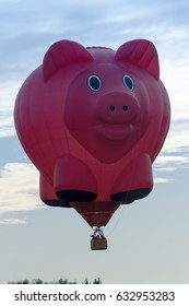 June 14, 2013 Pig shaped hot air balloon flying over Mainz city, Germany