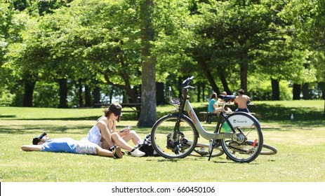 June 14, 2017 - Montreal, Quebec, Canada:  People relaxing in Parc Mont-Royal.