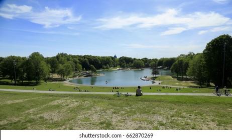 June 14, 2017 - Montreal, Quebec, Canada:  Beaver Lake, Mount Royal Park.