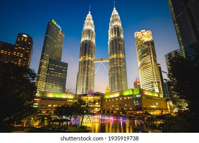 June 14, 2017: petronas twin towers, the tallest buildings in Kuala Lumpur, malaysia and the tallest twin towers in the world. construction started on 1 March 1993 and completed on 31 August 1999.