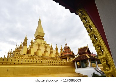 June 14, 2018. Architecture of Phra That Luang Temple in Vientiane. Laos.