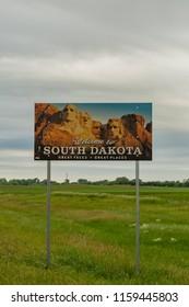 June 14, 2018: South Dakota, United States: Narrow Shot of Welcome to South Dakota Sign