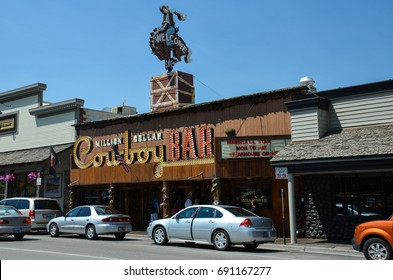 JUNE 15 2016 - JACKSON, WYOMING: Million Dollar Cowboy Bar is one of the most popular restaurants with tourists.