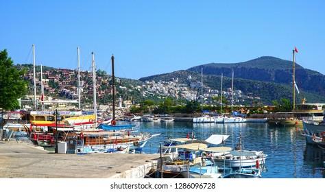 June 15, 2017- Kalkan, Antalya, Turkey. Marina of the small Turkish town.