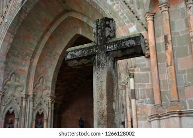 June 15, 2018. Facade detail of the Gothic architecture Parroquia de San Miguel Arcángel emblem of the historic town of San Miguel de Allende, Guanajuato Mexico.