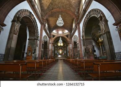 June 15, 2018. Interior view of the Gothic architecture Parroquia de San Miguel Arcángel emblem of the historic town of San Miguel de Allende, Guanajuato Mexico.