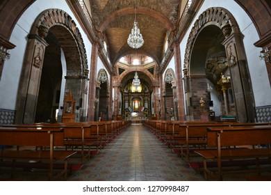 June 15, 2018. Interior view of the Gothic architecture Parroquia de San Miguel Arcángel emblem of the historic town of San Miguel de Allende in Guanajuato Mexico.