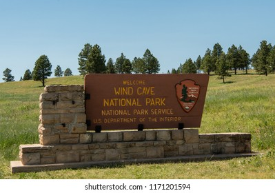 June 15, 2018: Wind Cave, United States: Welcome to Wind Cave National Park Sign