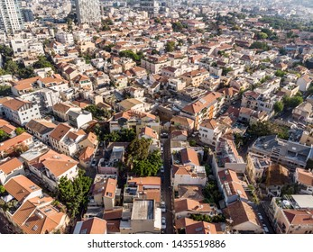 June 15, 2019. Neve Tzedek. Tel Aviv (Israel). One of Tel Aviv's latest fashionable and expensive village-like atmosphere. Photographing from the drone.