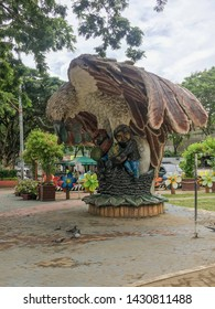 June 15, 2019-Davao Philippines: the huge statue of the Philippine Eagle, national bird of the Philippines, located at the people's park in Davao