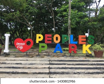 June 15, 2019-Davao Philippines : Vibrant letters at the peoples park in Davao City Philippines