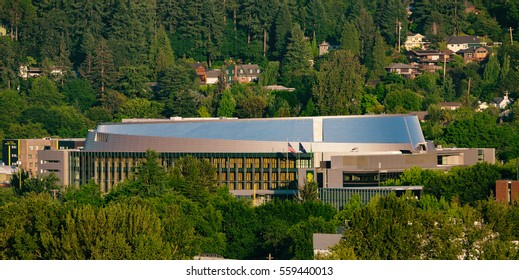 June 16, 2015.  Eugene, Oregon, USA.  Matthew Knight Arena stands as a shining beacon in the afternoon sun to the University of Oregon Ducks athletic program.