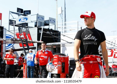 June 16, 2018 - Newton, Iowa, USA: Ryan Reed (16) hangs out in the garage during practice for the Iowa 250 at Iowa Speedway in Newton, Iowa.
