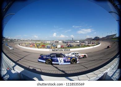 June 17, 2018 - Newton, Iowa, USA: Brandon Jones (19) brings his car through the turns during the Iowa 250 at Iowa Speedway in Newton, Iowa.