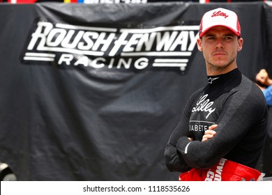 June 17, 2018 - Newton, Iowa, USA: Ryan Reed (16) hangs out in the garage before qualifying for the Iowa 250 at Iowa Speedway in Newton, Iowa.